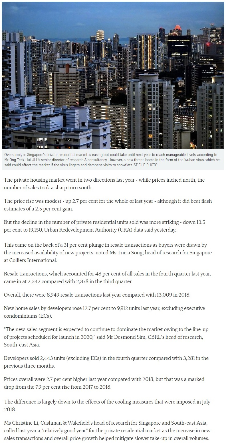 The Landmark - Singapore private home prices inch up 2.7 for 2019 1